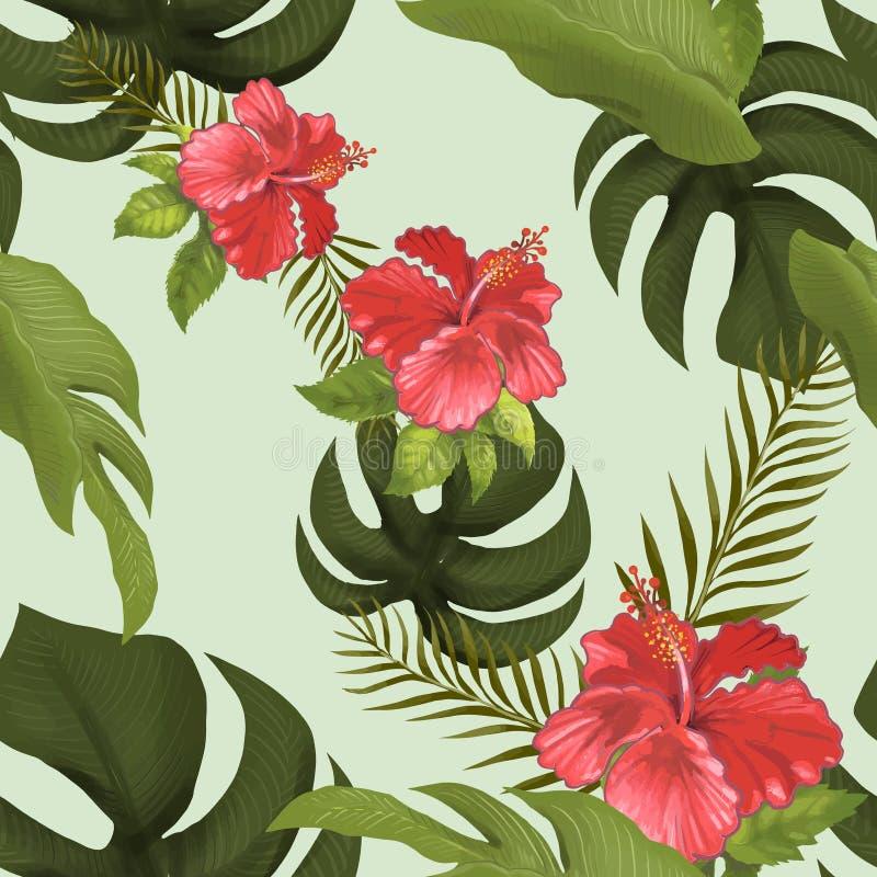 Hand isolerad dragen tropisk skog stock illustrationer