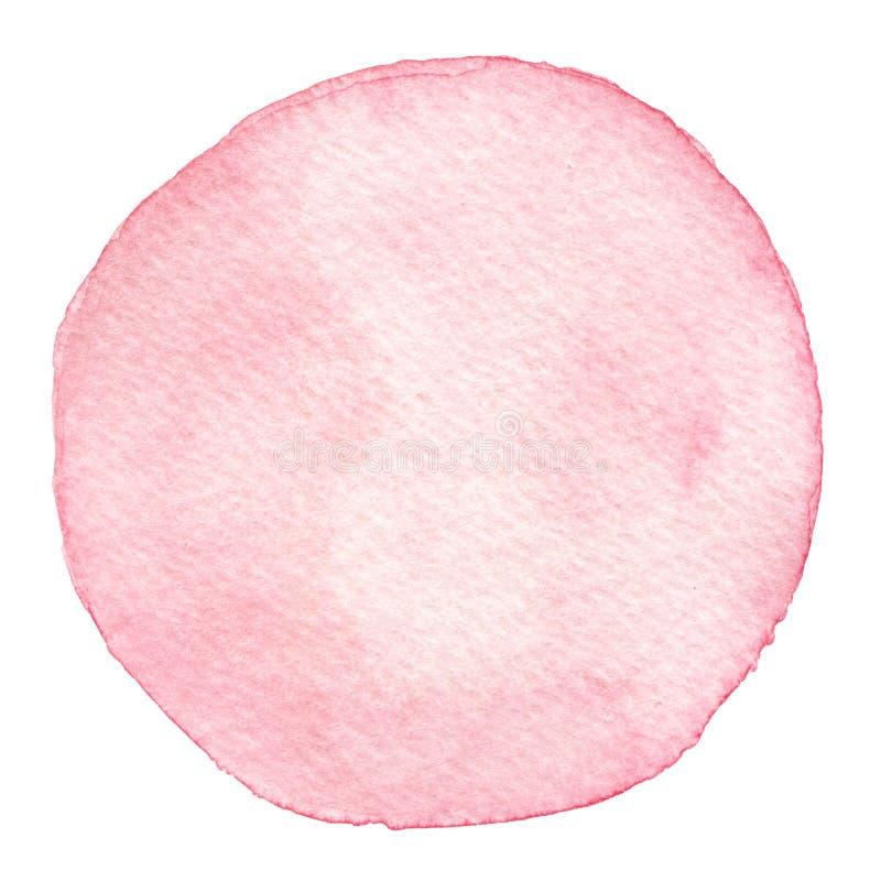 Hand isolerad målad textur för vattenfärgrosa färgrunda royaltyfri illustrationer