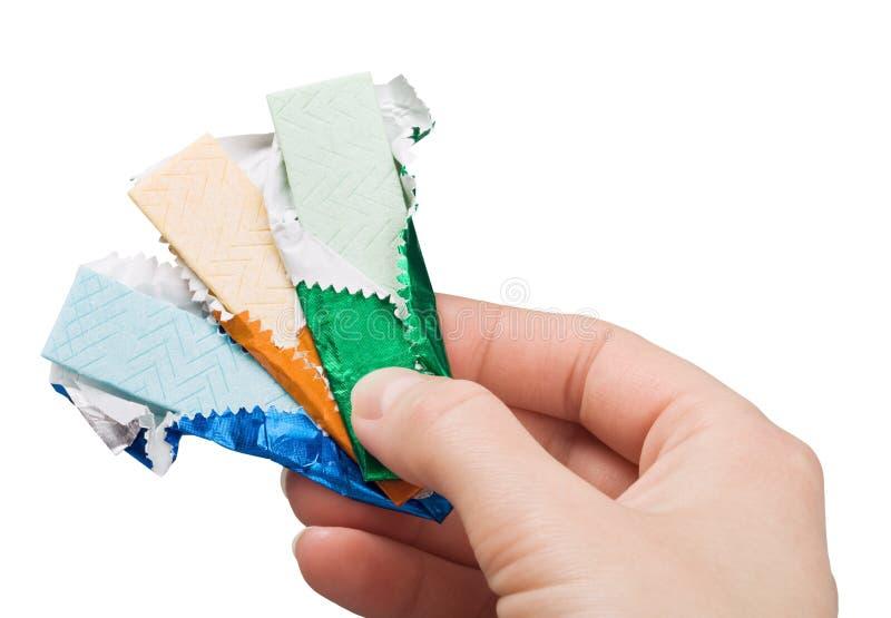 In hand kauwgom stock foto