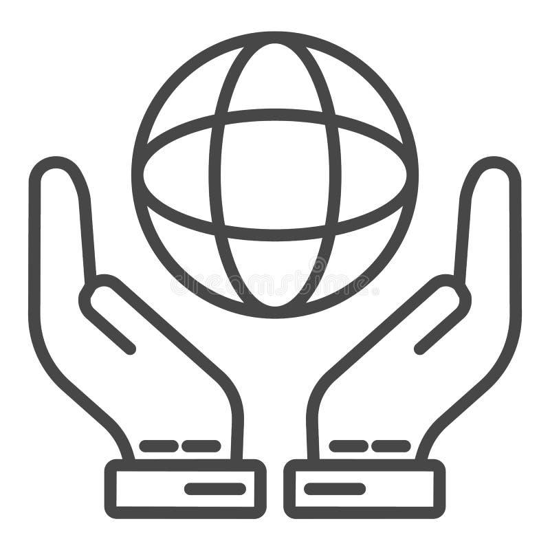 Hand keep globe icon, outline style stock illustration
