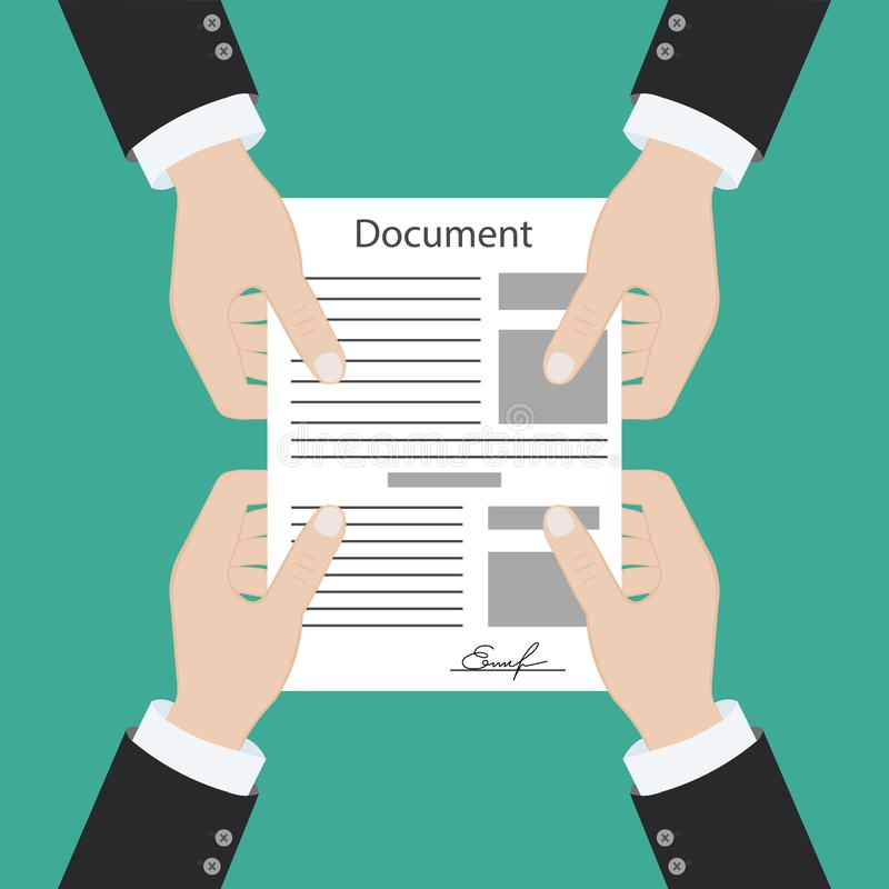Hand keeping an document, and another hand keeping a pen. Signing an agreement. Business partnership concept stock illustration