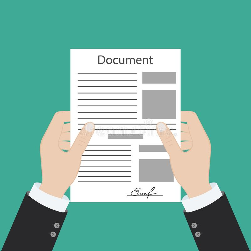 Hand keeping an document, and another hand keeping a pen. Signing an agreement. Business partnership concept royalty free illustration