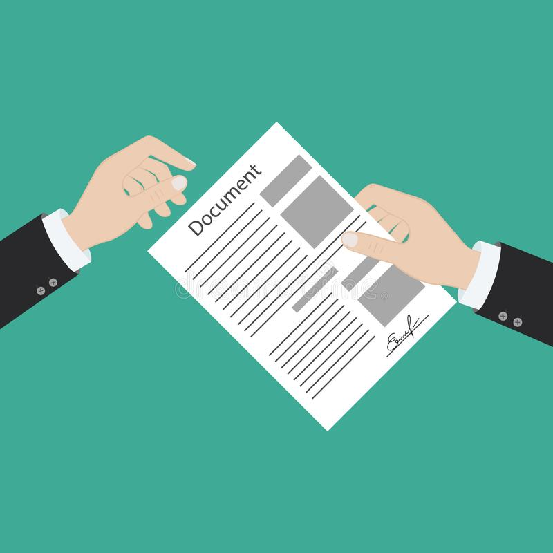 Hand keeping an document, and another hand keeping a pen. Signing an agreement. Business partnership concept. Vector vector illustration
