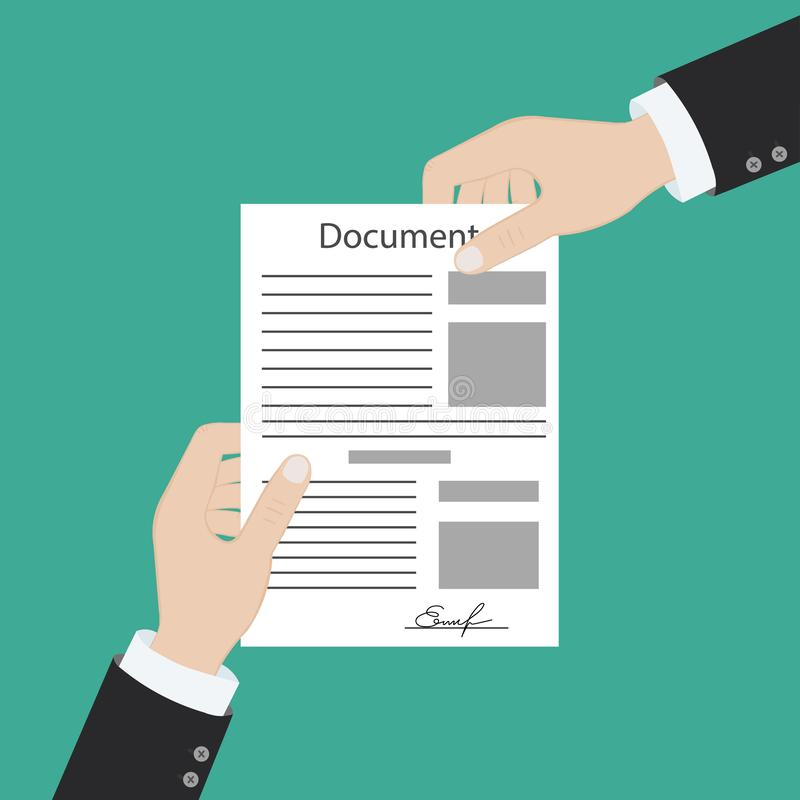 Hand keeping an document, and another hand keeping a pen. Signing an agreement. Business partnership concept. Vector royalty free illustration