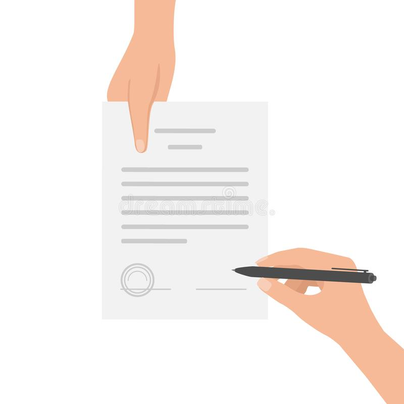 Hand keeping an document, and another hand keeping pen. Signing an agreement. Offer signing contract. Business partnership concept. Hand keeping an document, and royalty free illustration