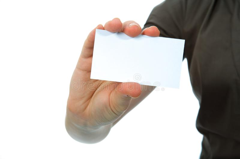 Hand Keeps Business Card Free Stock Image