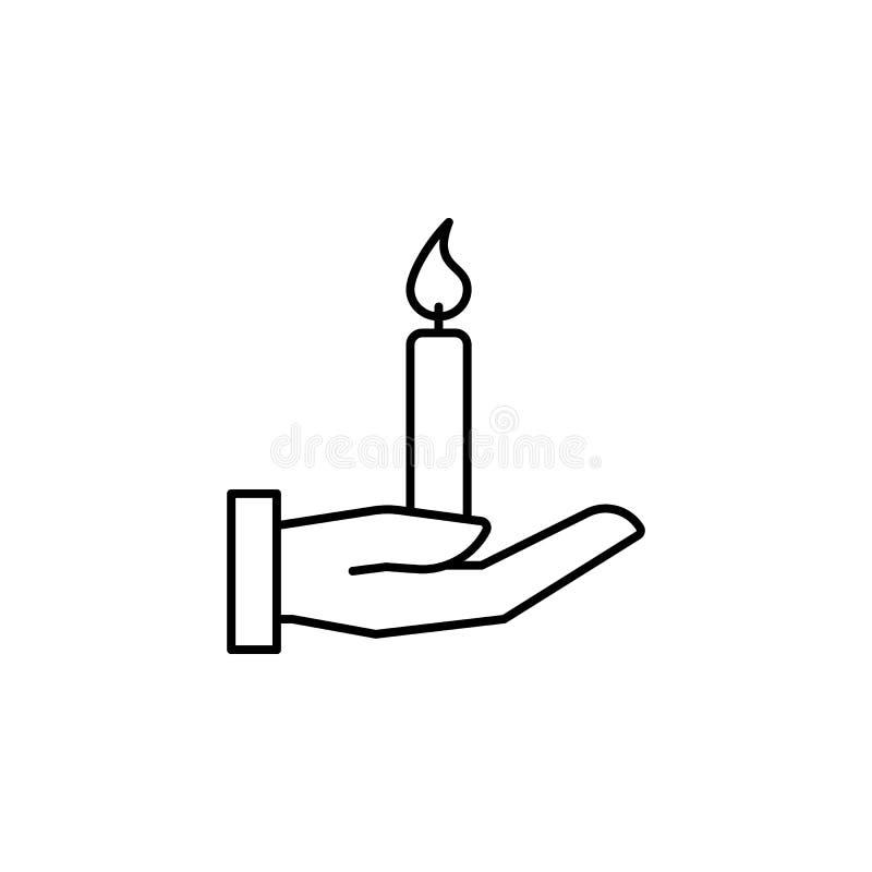 Hand, Kerze, Todesentwurfsikone ausführlicher Satz Todesillustrationsikonen Kann f?r Netz, Logo, mobiler App, UI, UX verwendet we stock abbildung