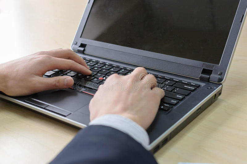 Hand On Keyboard Stock Image
