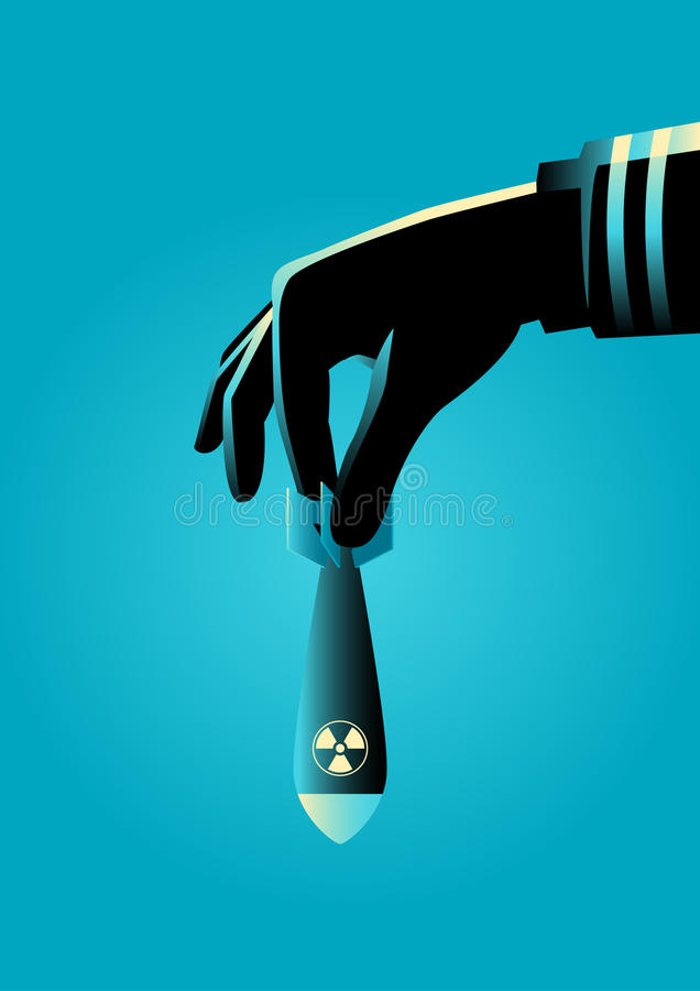 Hand klaar aan dalingen atoom of een atoombom vector illustratie