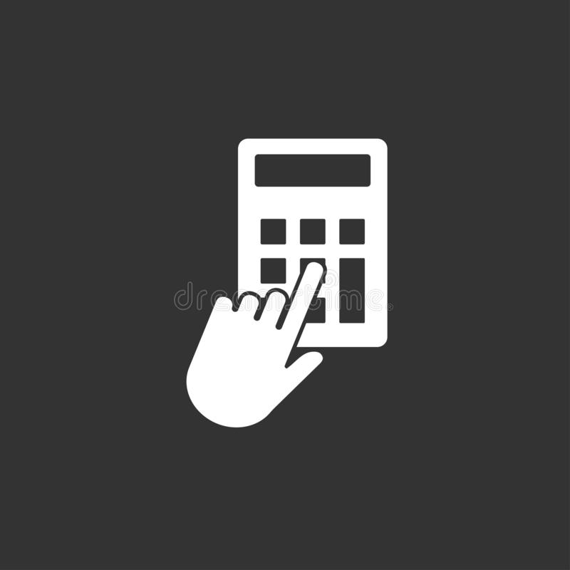 Hand, Klicken, Taschenrechnerikone Vektorillustration, flaches Design lizenzfreie abbildung