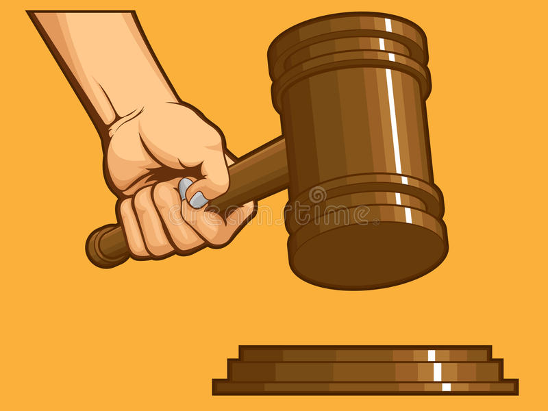 Download Hand Knocking Gavel stock vector. Image of attorney, concept - 27907545