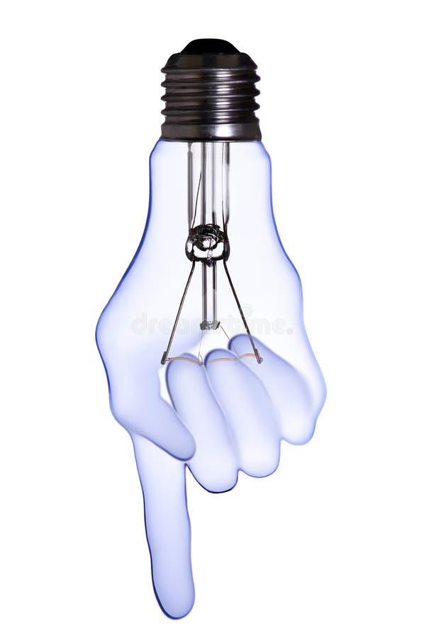 Hand lamp bulb stock photography