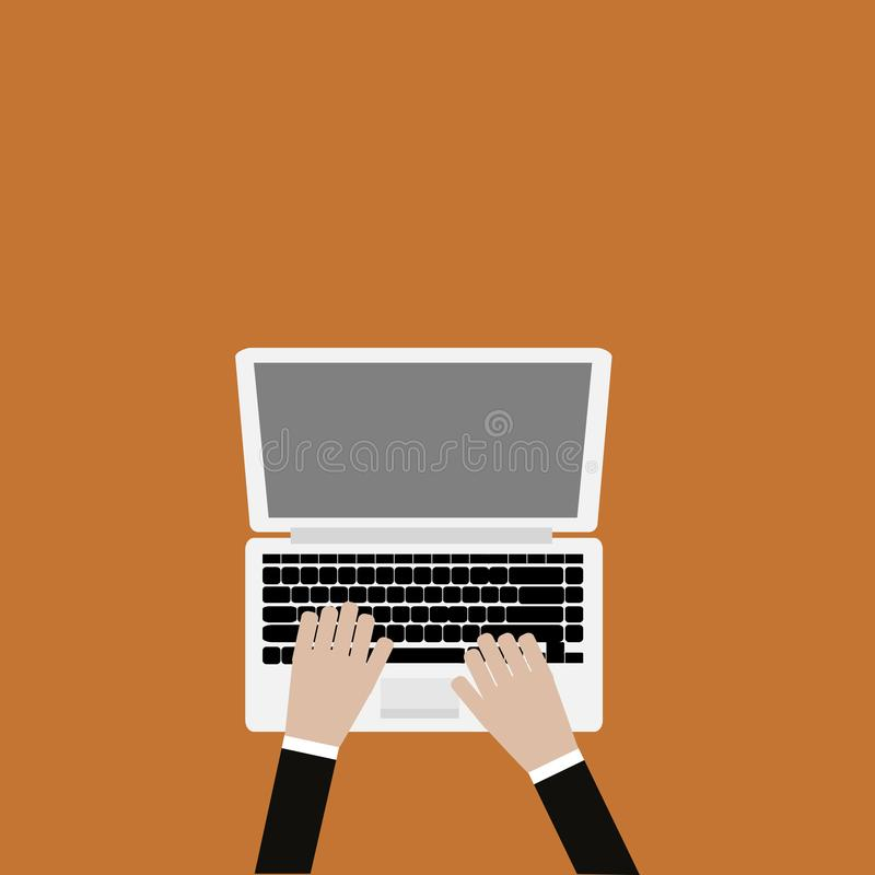 Hand on laptop keyboard. With blank screen monitor vector illustration