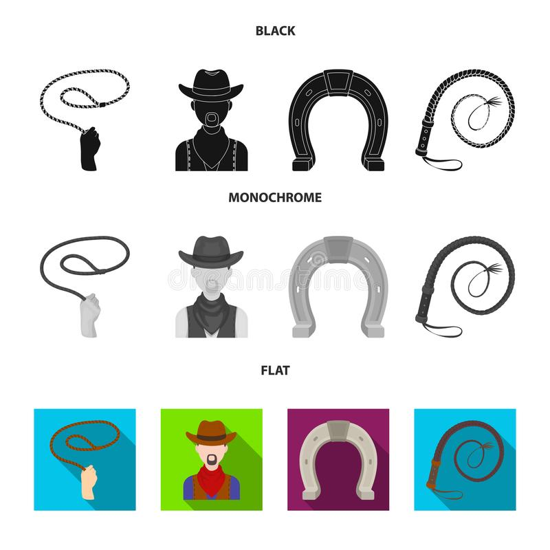 Hand lasso, cowboy, horseshoe, whip. Rodeo set collection icons in black, flat, monochrome style vector symbol stock royalty free illustration