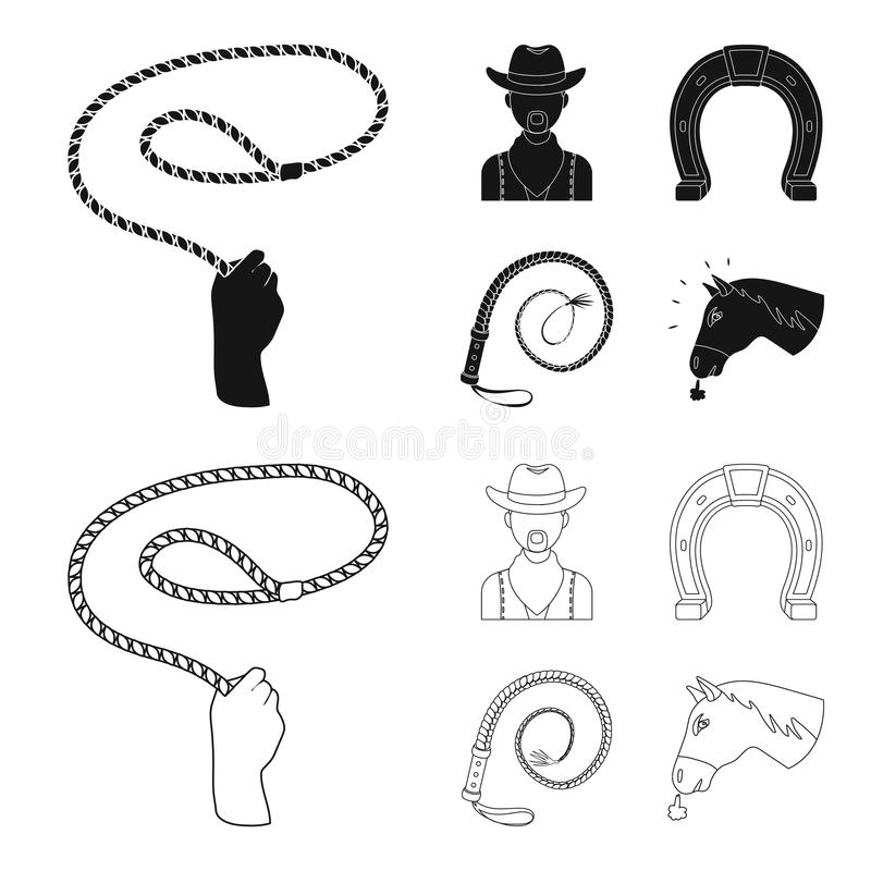 Hand lasso, cowboy, horseshoe, whip. Rodeo set collection icons in black,outline style vector symbol stock illustration vector illustration