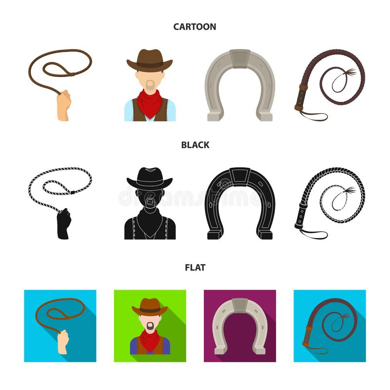 Hand lasso, cowboy, horseshoe, whip. Rodeo set collection icons in cartoon,black,flat style vector symbol stock stock illustration