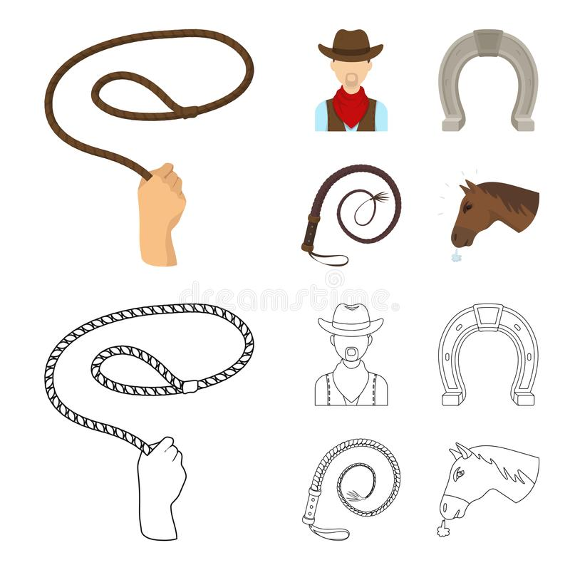 Hand lasso, cowboy, horseshoe, whip. Rodeo set collection icons in cartoon,outline style vector symbol stock vector illustration