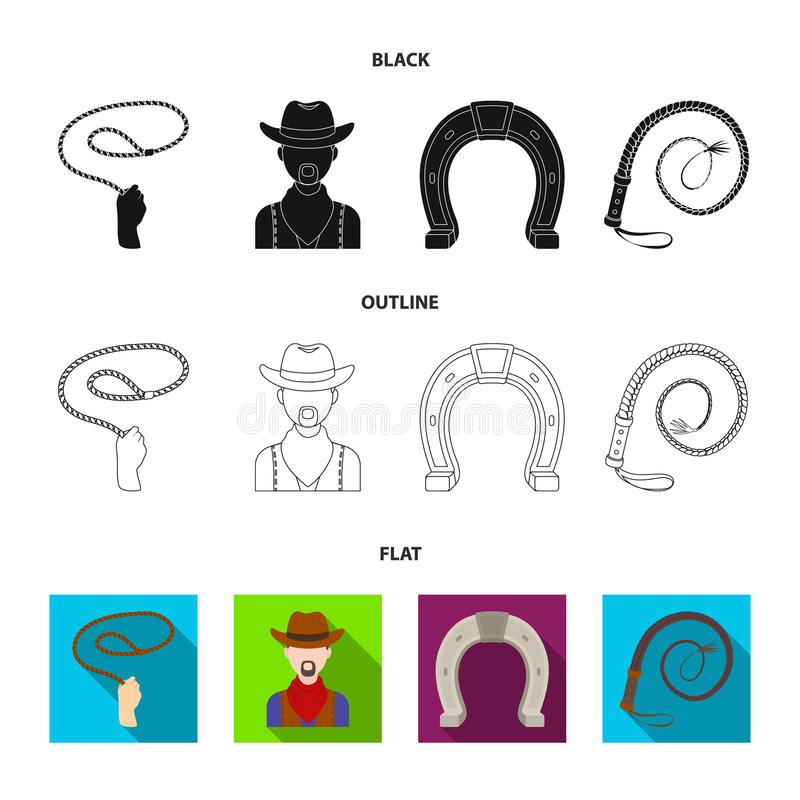 Hand lasso, cowboy, horseshoe, whip. Rodeo set collection icons in cartoon style vector symbol stock illustration web. royalty free illustration
