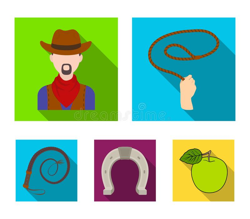Hand lasso, cowboy, horseshoe, whip. Rodeo set collection icons in flat style vector symbol stock illustration web. royalty free illustration