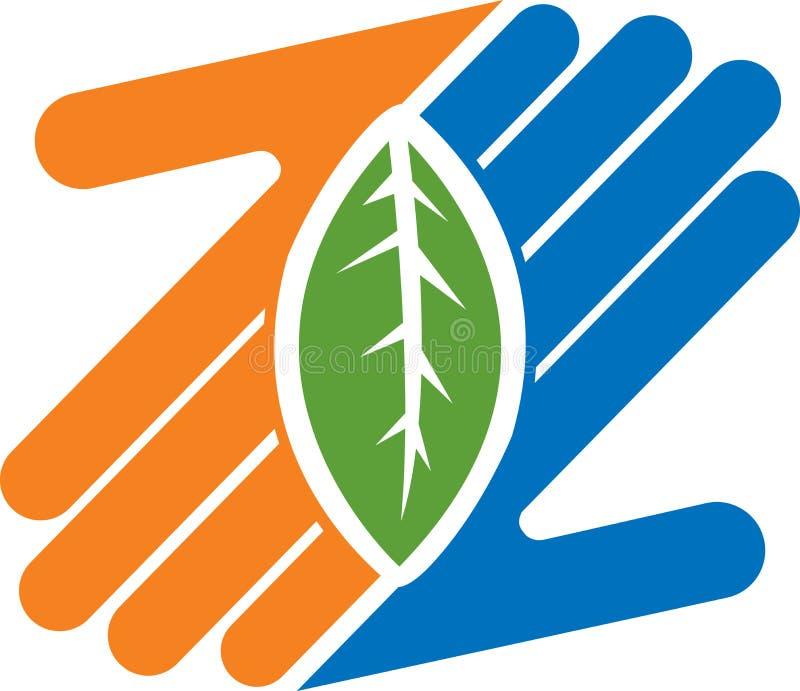 Hand leaf logo stock illustration