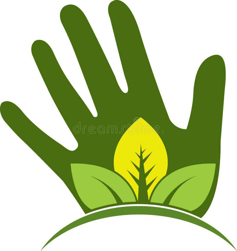 Hand leaf logo royalty free illustration