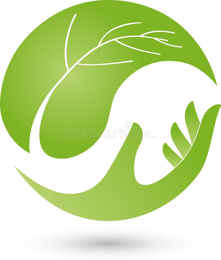 Hand and leaf, plant, wellness and naturopathic logo stock illustration