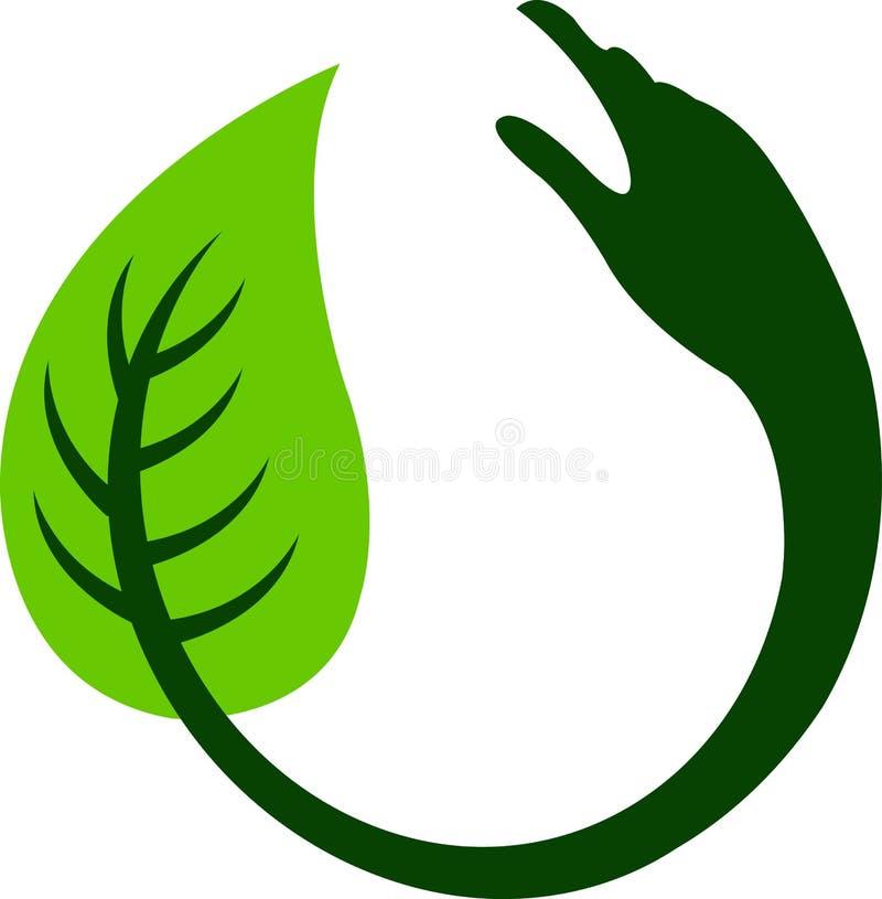 Hand leaf round logo vector illustration