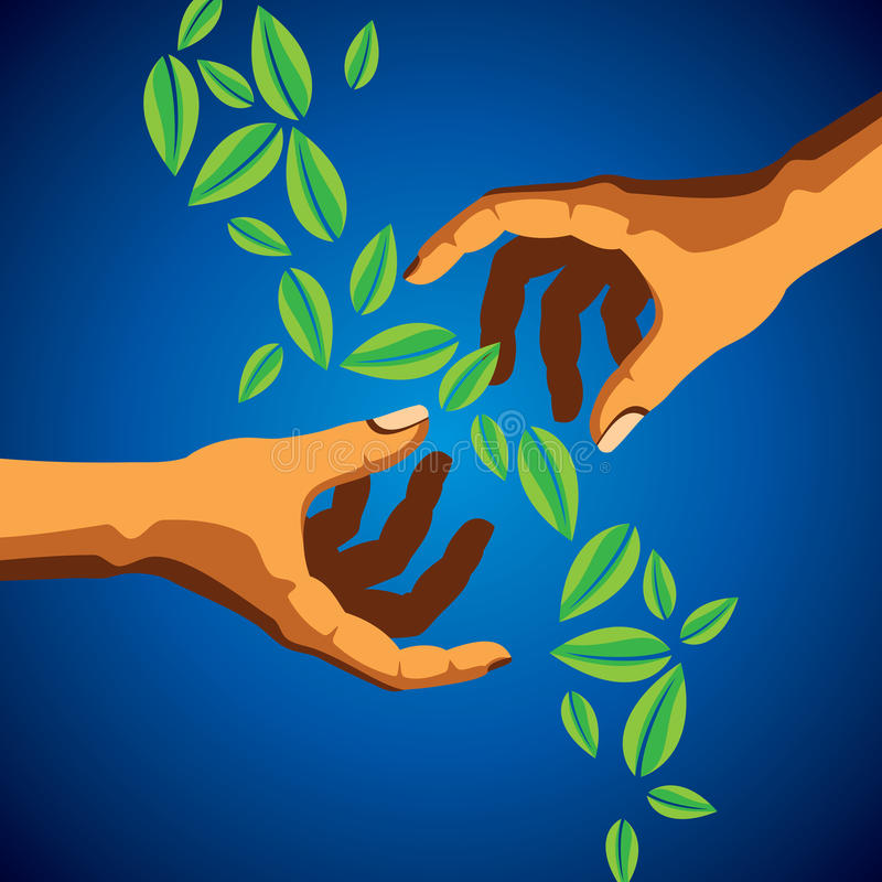 Hand and Leaf silhouette stock illustration