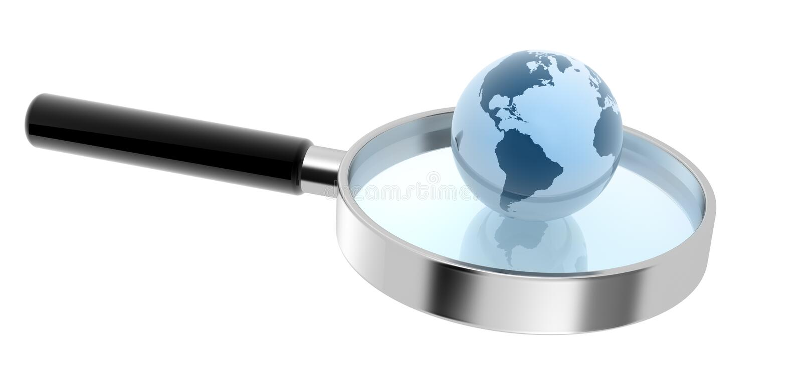 Hand lens and earth sphere stock illustration