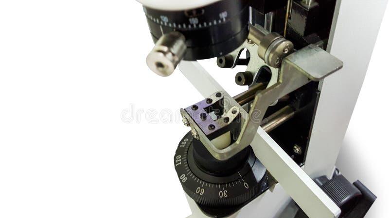 Hand lens-METER op witte achtergrond royalty-vrije stock foto