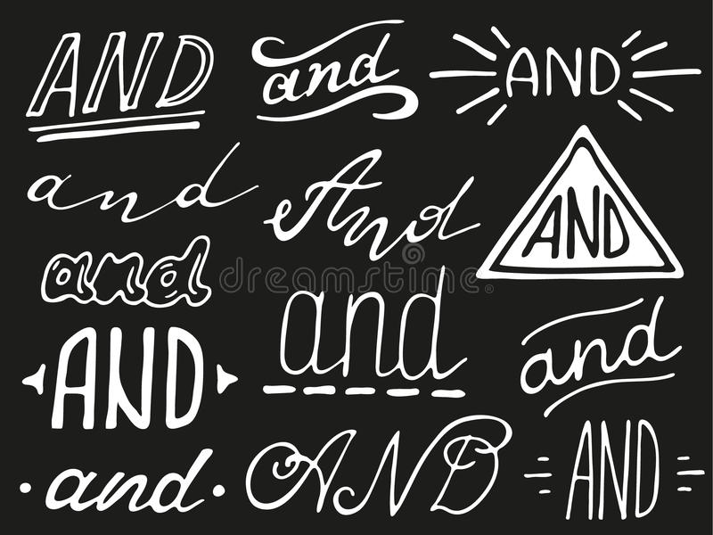 Hand lettered ampersand and catchwords. Hand lettered catchwords And. Collection of hand drawn catchwords. Ampersands and catchwords for your design. Modern stock illustration