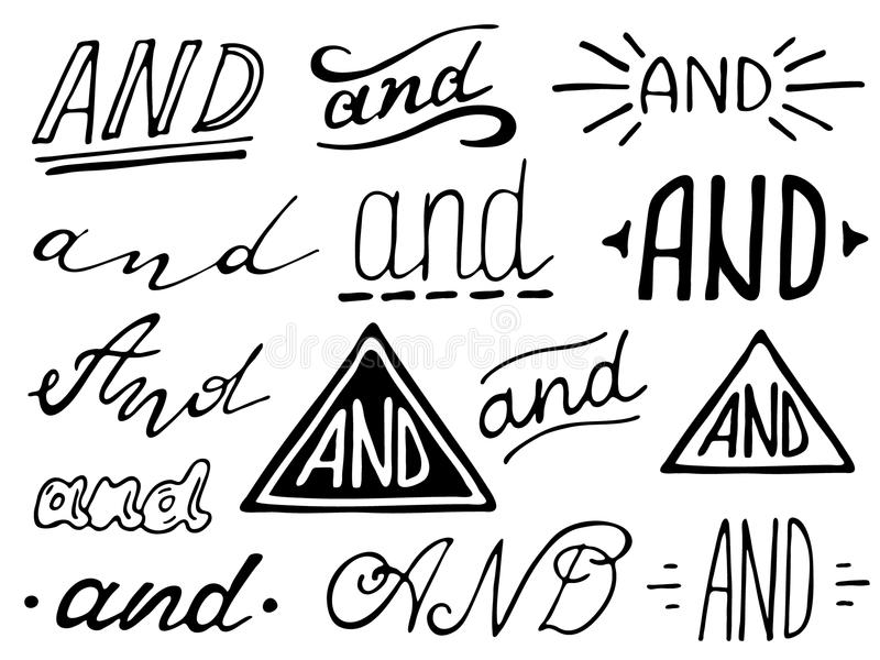 Hand lettered ampersand and catchwords. Hand lettered catchwords And. Collection of hand drawn catchwords. Ampersands and catchwords for your design. Modern vector illustration