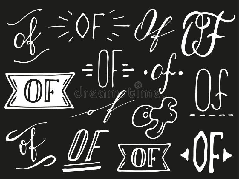 Hand lettered ampersand and catchwords. Hand lettered catchwords Of. Collection of hand drawn catchwords. Ampersands and catchwords for your design. Modern vector illustration