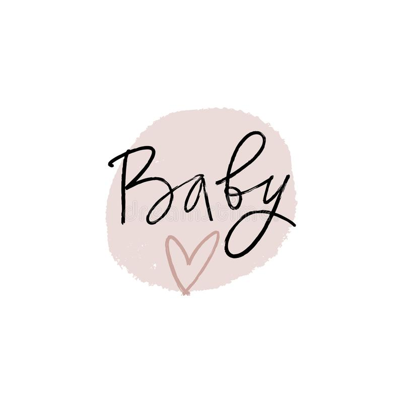 Hand lettered baby shower label, lettering. Stylish print for posters, cards, mugs, clothes and other. Vector Illustration,. Clipart. Isolated on white royalty free illustration