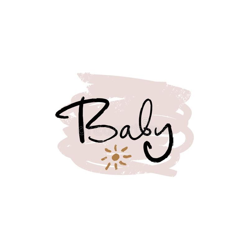 Hand lettered baby shower label, lettering. Stylish print for posters, cards, mugs, clothes and other. Vector Illustration,. Clipart. Isolated on white stock illustration