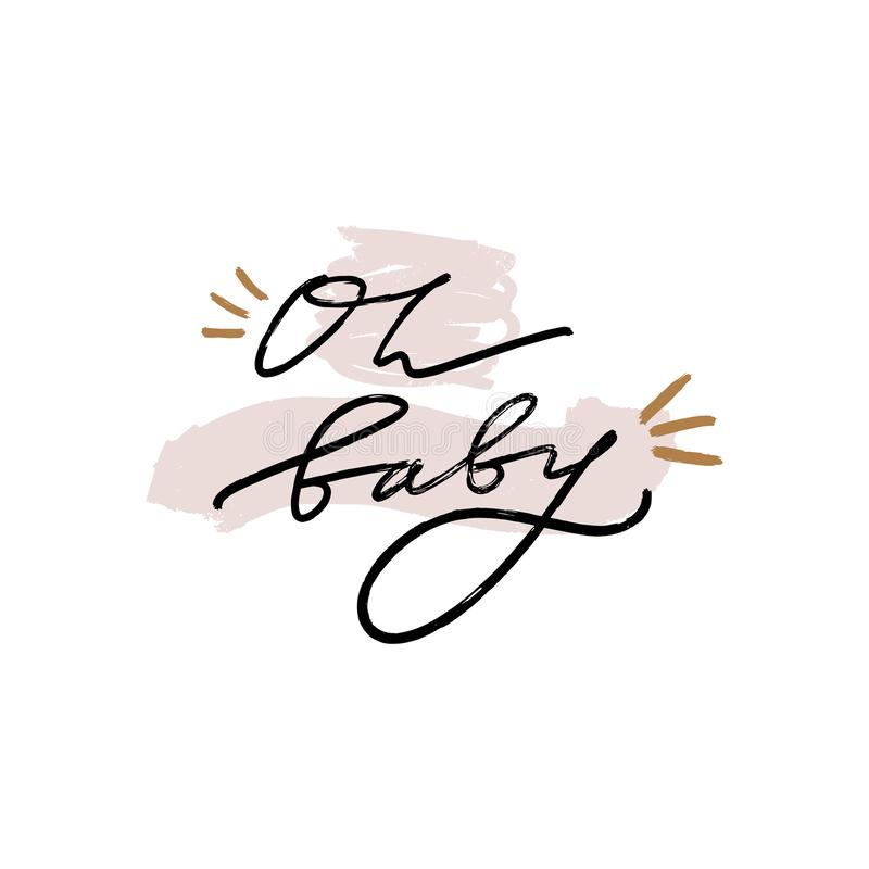 Hand lettered baby shower label, lettering. Stylish print for posters, cards, mugs, clothes and other. Vector Illustration,. Clipart. Isolated on white vector illustration