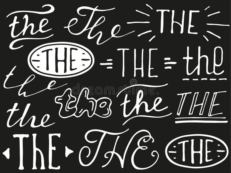 Hand lettered ampersand and catchwords. Hand lettered catchwords The. Collection of hand drawn catchwords. Ampersands and catchwords for your design. Modern vector illustration