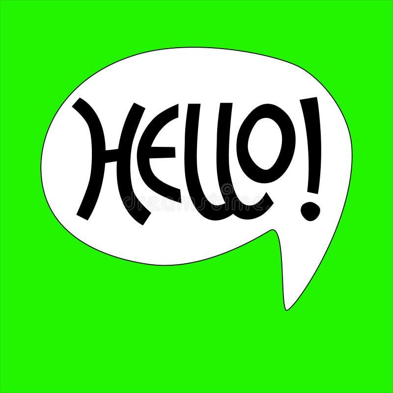 Hand-lettered Hello phrase in white bubble on green background for sticker, card, t-shirt, banner, social media stock illustration