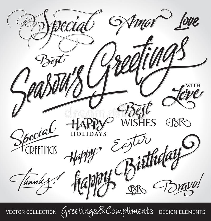 Hand lettered holiday greetings set (vector) stock illustration