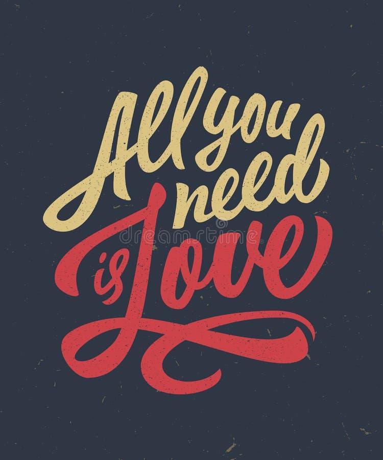 Hand lettered love quote t-shirt design stock illustration