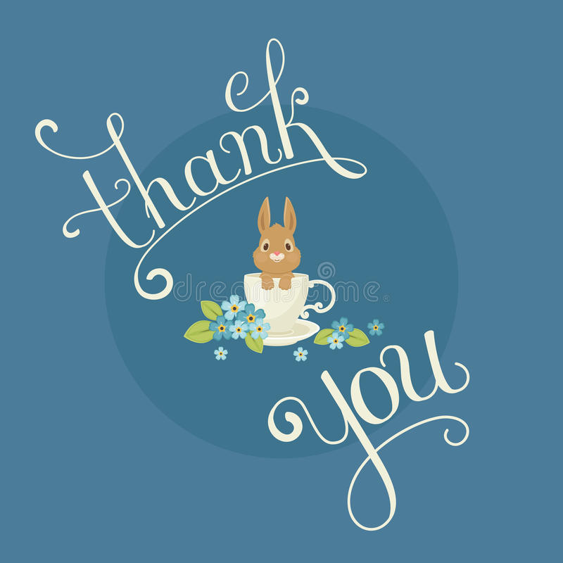 Hand lettered. `thank you` note. Rabbit/bunny sitting in a cup with forget-me-not flowers around. Vector art stock illustration