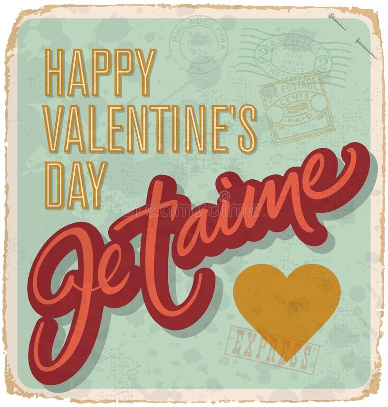 Hand-lettered vintage valentines card (vector) stock illustration