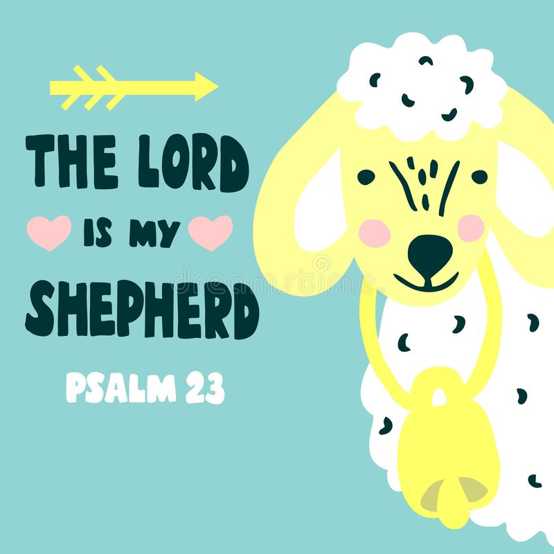 Hand lettering and bible verse The Lord is my shepherd with sheep. Psalm 23. Hand lettering The Lord is my shepherd with sheep. Biblical background. Christian vector illustration