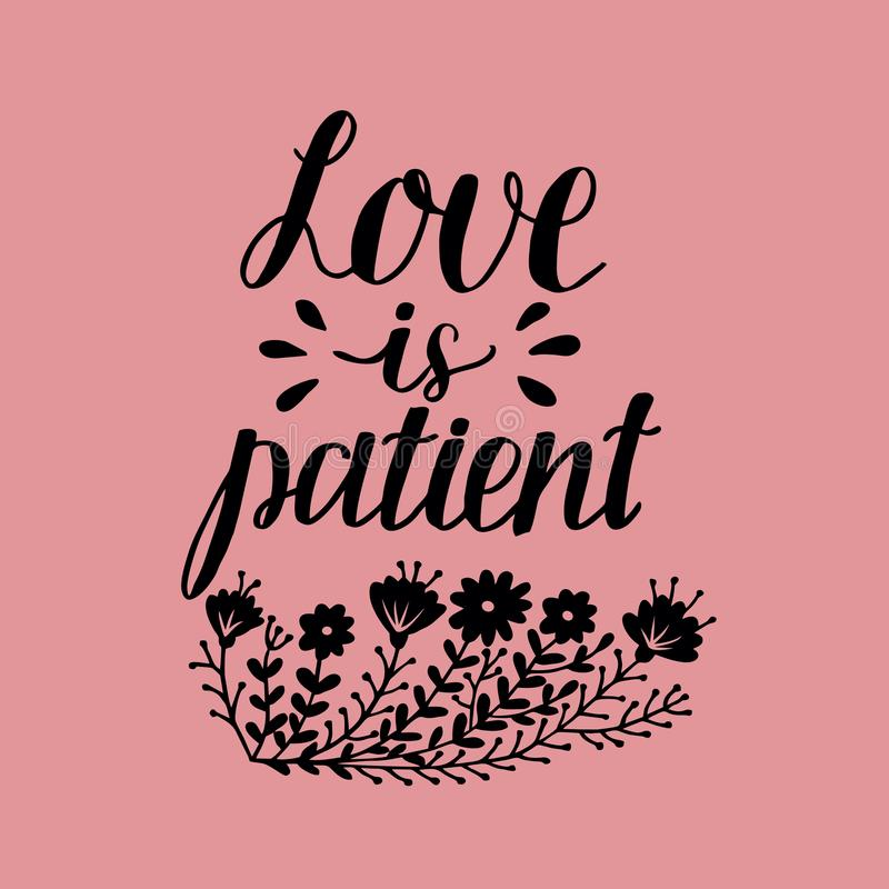 Hand Lettering With Bible Verse Love Is Patient On Pink