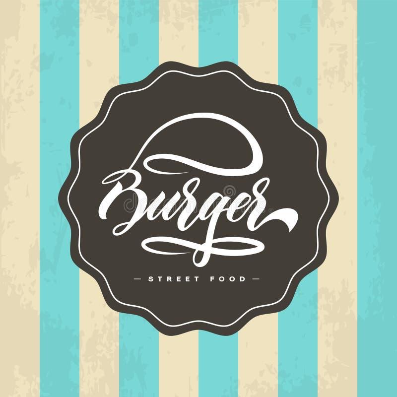 Hand lettering burger food logo design vector illustration