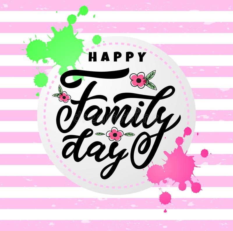 Hand lettering calligraphy Happy Family day. vector illustration for greeting card, poster, banner, flyer, print, web. Green royalty free illustration