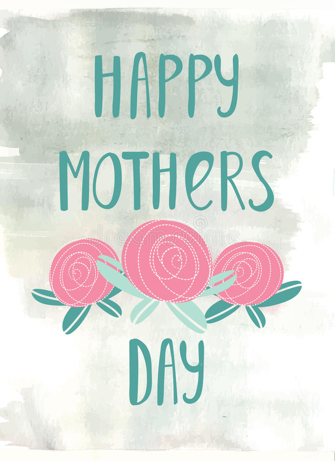 Hand lettering card for Mothers Day. royalty free illustration