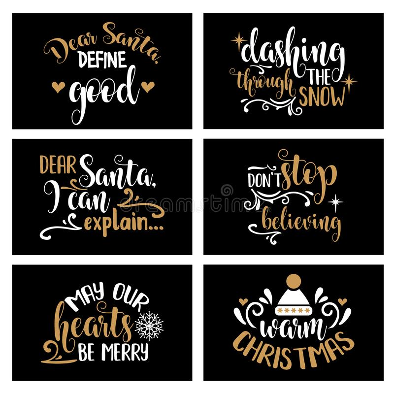 Hand lettering Christmas card collection with joyful quotes. Christmas quote. Christmas cards design, poster, print royalty free illustration