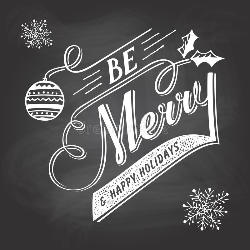 Hand-lettering Christmas greeting label on chalkboard stock illustration