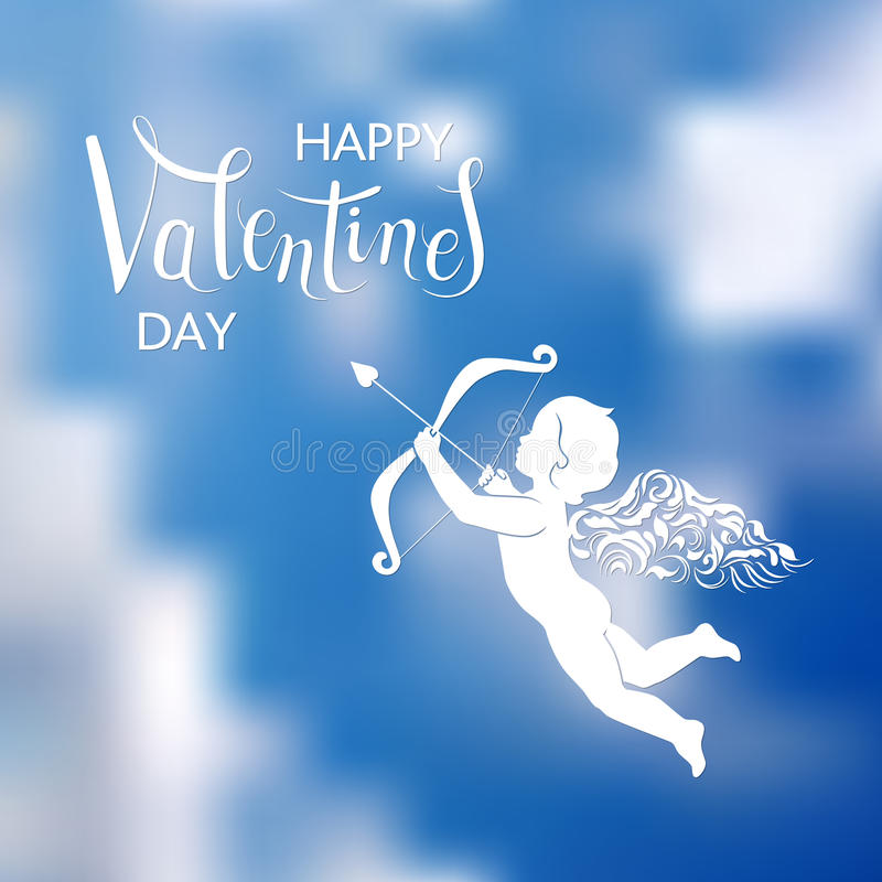 Hand lettering and Cupid. White silhouette of cupid with bow and arrow on the background of sky. Beautiful hand written text greetings Happy Valentines Day vector illustration